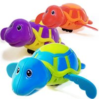 Wholesale kid plastic pools online - Little Turtle Bath Toys Novelty Cute Wind Up Water Diver Plastic Exercise Grip Ability Pool Toy For Kids dh B