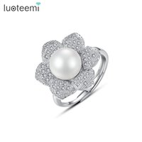 Wholesale Cz Adjustable Ring - LUOTEEMI New Arrival Adjustable Luxury White Gold-Color Single Imitation Pearl Tiny CZ Flower Ring For Women Wedding Jewelry
