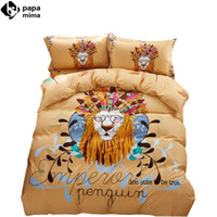 Wholesale Lion King Sheets Full - Wholesale-noble lion king feathers pattern light tan linens bedding 100% cotton Twin Queen Size duvet cover+bedsheet+pillowcases sheets