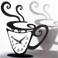 Wholesale Coffee Cup Clocks - Wholesale- Diy 3d Acrylic Mirror Wall Clock Sticker Coffee Cup Clock Modern Design Luxury Atr Wall Watch Decorative Relogio De Parede