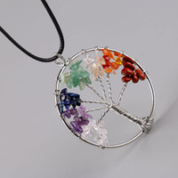 Wholesale Chip Jewelry - Fashion Women Rainbow 7 Chakra Tree Of Life Quartz Chips Pendant Necklaces Multicolor Wisdom Tree Natural Stone Necklace Jewelry