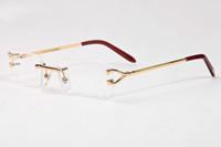 Wholesale Mirror Plain Glass - New Rectangle Gold Glasses Frame Fashion Sunglasses Frame Optical Frames Eyewear Oculos Buffalo Plain Mirror Glasses