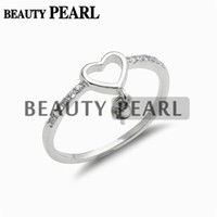 Wholesale Diy Dangle 925 - 5 Pieces Jewellery 925 Sterling Silver Zircon Heart Ring Blank DIY Pearl Settings Dangle Ring Mount