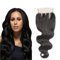 Wholesale Boby Wave Brazilian Hair - Boby Wave 4x4 Free Part Lace Closure with Baby Hair Natural Black Color Brazilian Virgin Human Hair Closures Bleached Knots