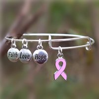 Wholesale Cancer Ribbon Charms For Bracelets - Care For Breast Cancer Pink Ribbon Bangles Hope Love Faith Charms Bracelet Adjustable Bangles for Jewelry