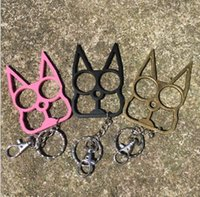 Wholesale Trigger Gear - key chain cat finger tiger stainless steel anti-body ring defense trigger Creative punches finger protection equipment defense ring 40g
