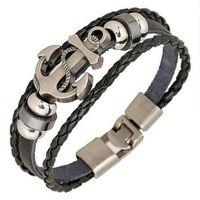Wholesale Handcrafted Leather Bracelets - Handcrafted anchor bracelet man punk PU leather beaded bracelet fashion charm bracelets gift