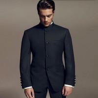 damat takım elbise tasarımları toptan satış-Son Tasarımlar Bruce Lee Stil Damat takımları Smokin siyah Mandarin yaka Erkekler Düğün takımları Yemeği Suits (ceket + pantolon)