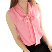 Wholesale Black Tie Neck Blouse - 2017042336 Women sleeveless blouses chiffon blouse shirt pink yellow white bow tie up front 2016 summer casual solid color top femme