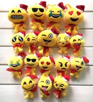 Wholesale Small Doll Hats - 17 Style Christmas gift 9x12cm QQ Emoji Smiley Pillow Small Plush Doll Keychain Pendant Emotion Yellow hat Expression Stuffed Toys B001