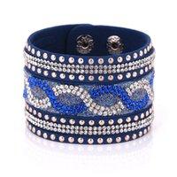 Wholesale Pave Wrap - Wholesale- women's wide wrap bracelets with crystal pave fashion ladies beautiful bracelets & bangles wholesale 2016 design