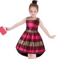 ingrosso vestiti di bambino europee-Europa America Abbigliamento moda per bambini Neonata Vestito da principessa Abito rosso a righe senza maniche a coda di rondine per bambina