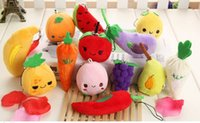 Wholesale Vegetable Toys - Wholesale-Kawaii Multi - Designs Fruit & Vegetable - Plush Stuffed String Pendant TOY & BAG ; Wedding Bouquet Gift Plush TOY DOLL