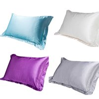 Wholesale Decorative Pillow Cover Sets - Wholesale- Bedding Set Silk Pillow Case Cover Double Face Envelope Silk Pillowcase Silk Satin Pillow Case Multiple Decorative Pillows