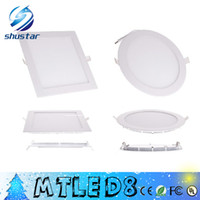 Wholesale Recessed Lights Bathroom - 10 unit Led Panel Lights Dimmable 9W 12W 15W 18W 21W CREE Led Recessed Downlights Lamp Warm Cool White Super-Thin Round Square 110-240V