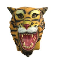 Wholesale Realistic Animal Costumes - Horror Tiger Latex Mask Full Face Halloween Animal Head Rubber Masks Mythology Fancy Prop Costume Party Supplies Realistic Props 5pcs lot