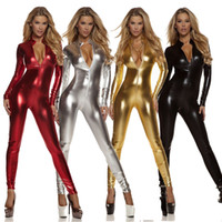 Wholesale Unitard Costume Sexy - Women Shiny Metallic Spandex Lycra Zentai Catsuit One Piece Catsuit Long Sleeve Zipper Front Bodysuit Wet Look Costume Unitard