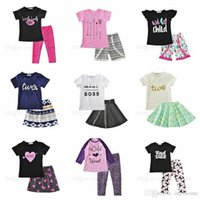 Wholesale Leather Baby Shirt - Clothing Sets INS Baby T Shirts Pants Girls Summer Suits Arrow Letter Tops Pants Leather Printed Outfits Kids Fashion Casual Clothing H562