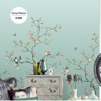 Wholesale Chinese Mural Wallpaper - Wholesale- Chinese Wallpaper Bird Flower Gradient Green Christmas Retro Wallpapers Background Wall Papers Home Decor Living Room Mural Roll