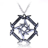 Wholesale Metallica Logos - Wholesale-Latest Fashion Jewelry Rock And Roll Band Metallica Letter Logo Metal Band Necklace