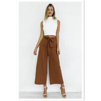 Wholesale Long Loose Trouser Belt - Women Casual Loose Wide Leg Pants Vintage middle Waist Trousers belt Casual Cotton Oversized Solid Long Pants Plus Size XL
