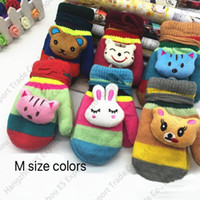 Wholesale New Baby Patchwork - New Coloful Cartoon Aniaml Head Children Double Gloves Autumn And Winter With Hanging Rope Thick Gloves Boy And Girl Baby Warm Mittens