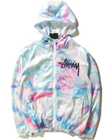 Wholesale Slimmest World - New Men World Tour Tie Dye Color Gradient Thin Coat Ice Cream Sunscreen Sportwear Jacket HipHop Windbreaker Hoodies