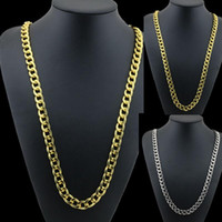 Wholesale Indian K - Gold Silver Color Men's Hiphop Fashion K Gold Plated Alloy Cuban Link Chain Necklace 80cm 31.5 inch