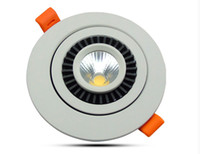 Wholesale Led Puck Ceiling Lights - NEW 12W COB round rotary gimbal Dimmable led downlight recessed ceiling lamp panel light white indoor puck luminaire fixture AC85-265V