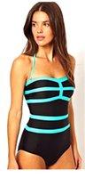 bikini une pièce couleur bleu achat en gros de-Nouveau Sexy une pièce bikinis Femmes Maillot De Bain Push Up couleur bleu ciel nager couvrir le ventre était Maillots De Bain Femme Maillots De Bain D036