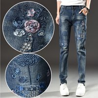Wholesale Girls Pant Coat Design - 2017 National Wind Embroidered Jeans Women's Trousers Spring and Summer New large size Elastic Haul Pants Slim thin Flower Girl Design Jeans