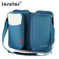 Wholesale Multifunction Diaper Bags - Wholesale- INSULAR Multifunction Large Capacity Baby diaper Bag messenger bags Portable Baby Bed Flat For Easy Storage Combo travel Bag