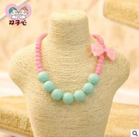 Wholesale Candy Jewelry For Kids - The new children's beaded bowknot candy color princess necklaces for girls kids jewelry 6 colors shippong free