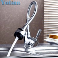 Wholesale Kitchen Faucet Light Chrome - Wholesale- Free Shipping Solid Brass Kitchen Mixer Cold and Hot Kitchen Tap Single Hole Water Tap Kitchen Faucet torneira cozinha YT-6003