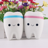 Wholesale Hand Puppets Toys - Squishy Novelty Squishy tooth Slow rebound 11cm Soft Squeeze Cute Cell Phone Pendant children toys With key ring XT