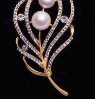 ingrosso spilla coreana del corsage-Naturale spilla perla d'acqua dolce corpetto 11-12mm perla naturale diamanti accessori per abbigliamento corsage pin semplice giapponese e coreano mosaico zi