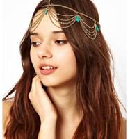 Wholesale Headdress Turquoise - Hair Jewelry Europe and United States Bohemian Style Turquoise Tassel Headband Headdress