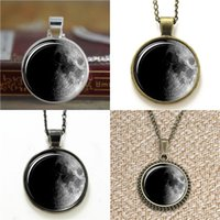 Wholesale Necklace Half Moon - 10pcs Moon Phase Pendant waxing half moon first quarter moon phase Glass Photo Cabochon Necklace keyring bookmark cufflink earring bracelet
