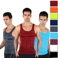 Wholesale Men S Slimming Vest - Mens Slimming Body Shaper Vest Shirt Tank Top Men's Tummy Waist Vest Lose Weight Shirt Slim Compression Muscle Tank Shapewear for Men