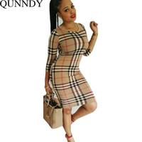 Wholesale Sexy Spandex Mini Dresses - New Arrival 2016 Womens Sexy Bodycon Dresses Ladies Elegant Spring Autumn Long Sleeve Plaid Sheath Dress Vestido De Festa q170716