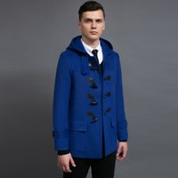 Button Up Collar blue duffle coat - XXXL Male design short mens duffle coat spring nice casual hooded horn button woolen jacket for men blue loden coat gifts