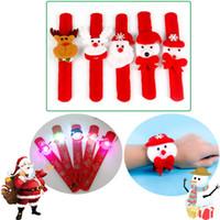 Wholesale Black Santa Ornaments - Christmas LED Clap Bracelet Luminous Circle Wrist Band Xmas Gift Decoration Santa Claus Snowman Party Ornament Gfit