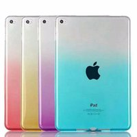 Wholesale Tab Gel - Slim Gradient Color Case Clear Soft TPU Transparent Gel Silicone Bumper Tab Case For iPad Air Pro Mini 1 2 3 4 9.7 12.9