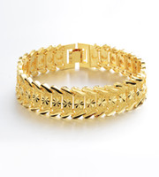 """Wholesale Mens 18k Watch - Carved Star Explosion Pattern Chain 18K Real Gold Plated Mens Watch band Bracelet 9"""" ,12MM Wide"""