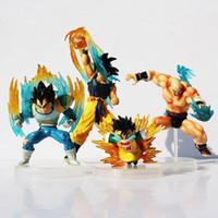 Wholesale Fight Set - 7-12cm Dragon Ball Goku Super Saiyan Vegeta PVC Action Figures Fighting Collection Model Toy set 4pcs set Free Shipping