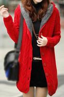 Wholesale Womens Sweaters Jackets - Wholesale- TFGS Womens Cardigan Knit Hoodie Mid-long Sweater Hooded Sweatshirt Jacket
