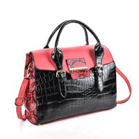 Wholesale Ladies Patent Leather Totes - 2017 Woman Handbag Boston Brand Designer Casual Tote Patent Leather Alligator Colorful Two-tone Cover Zipper Crossbody Shoulder Bags VK5181