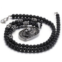 Wholesale Stainless Necklace 8mm - 71cm * 8mm Black Glass Bead Link Chain 316L Stainless Steel Lion Pendant Necklace w  Black Rhinestones Mens Jewelry