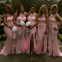 Wholesale Halter Collar Wedding Dresses - Gorgeous 2017 Pink Full Lace Mermaid Bridesmaid Dresses Long Sexy Halter Beaded Sash Collar Side Split Wedding Guest Gowns Custom
