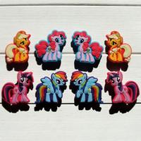 Wholesale Wristband Pvc - 100pcs lot Beautiful Horses charms Hot Cartoon PVC Shoe Charms Accessory Fit Wristband Bracelets Bag Kid Best Gift Party Favors Accessories